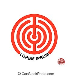 Circle in terms of vector logo. Maze emblem. Labyrinth round Illustration