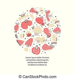 Circle includes hand drawn abstract shapes with different textures, spots and decorative elements. Freehand style