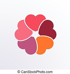 Circle infographic hearts design