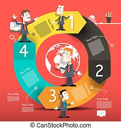 Circle Infographic Layout with Arrows and Business Men