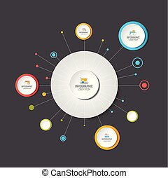 Circle infographic. Template,  network, flow chart, diagram.