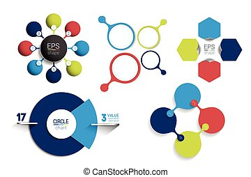 Circle infographic template. Round net diagram, graph, presentation, chart. Connected concept with 8 bubbles, options, steps, parts, text fields, processes.