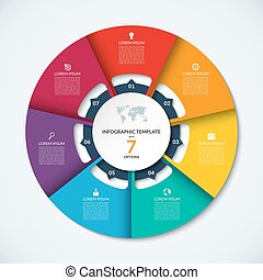 Circle infographic template. Vector layout with 7 options....