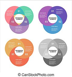 Circle infographics set. Template for diagram, graph, presentation and chart. Business concept with 4 options, parts, steps or processes. Abstract background.