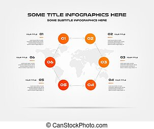 Circle infographics with world map. Element of chart, graph, diagram with 2 options - parts, processes, timeline. Vector business template for presentation, workflow layout, annual report
