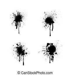 Circle ink blots - Black grunge ink blots splashes set...