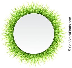 Circle label with green grass