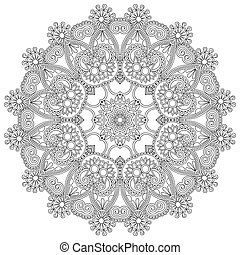 Circle lace black and white ornament, round ornamental...