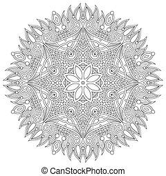 Circle lace ornament, round ornamental geometric doily pattern,