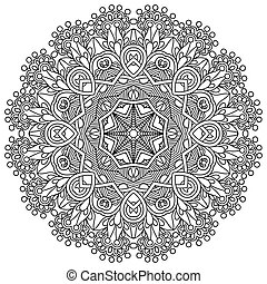 Circle lace ornament, round ornamental geometric doily pattern, black and white collection
