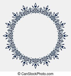 Circle lace ornament, round ornamental geometric doily pattern with empty space for text. Vector illustration greeting, wedding invitation.