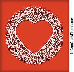 Circle lace ornament, round ornamental geometric doily pattern with heart shaped empty space for text. Vector illustration greeting, wedding invitation, Valentine's card. Dark red background,