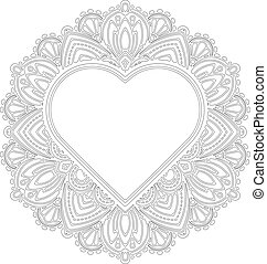 Circle lace ornament, round ornamental geometric doily pattern with heart shaped empty space for text. Vector illustration greeting, wedding invitation, Valentine's card. Outline pattern for coloring.