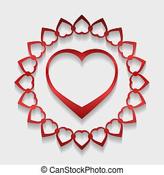 Circle lace ornament, round ornamental geometric doily pattern with red heart shaped and shadow. Vector illustration greeting, wedding invitation, Valentine's card.
