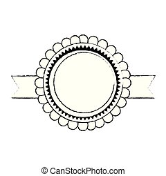 circle lace with ribbon emblem icon