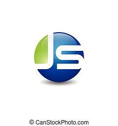 Circle letter JS logo design