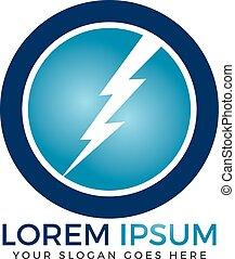 Circle Lightning bolt logo design.