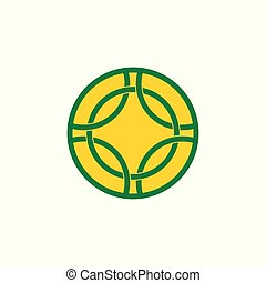 circle linked overlapping line logo vector