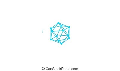 Circle loading bar. The three-dimensional lattice in the form of a polyhedron. Rays of light from the center.