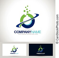 Circle Logo Design with Swash and blue green colors. Creative letter O Logo.