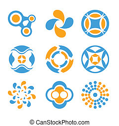 Circle logo elements - Two-color logo elements collection...