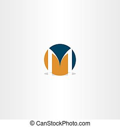 circle logo letter m sign vector element