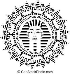 Circle mandala with Pharaoh Tutankhamun Vector Illustration