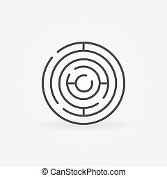 Circle maze linear icon. Vector circular labyrinth outline sign. Business puzzle concept symbol