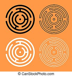 Circle maze or labyrinth black and white icon .
