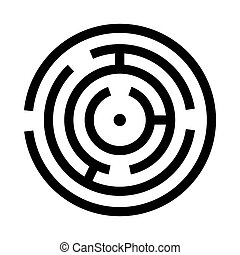 Circle maze or labyrinth black icon .