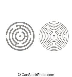 Circle maze or labyrinth grey set icon .