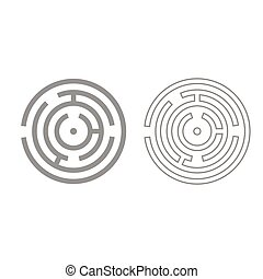 Circle maze or labyrinth grey set icon .