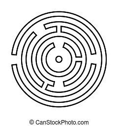 Circle maze or labyrinth it is black icon .
