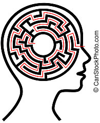 Circle Maze Puzzle as a Brain in Outline Profile - circle...