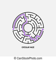 Circle maze vector labyrinth game. Round puzzle circular maze with solution. Complex labyrunth pattern