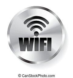 Circle Metal WIFI Button, Icon.