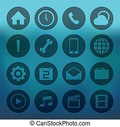 Circle mobile icons set