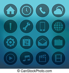 Circle mobile icons set - Blue background with circle mobile...