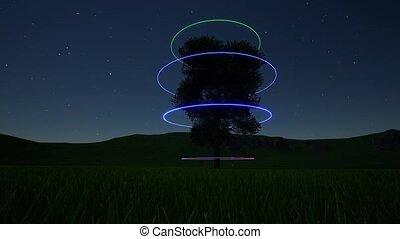 circle., néon, fantasme, paysage, fiction., étoilé, nuit, arbre., science, sky., avenir