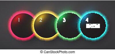 Circle neon shining banner set, Rainbow light minimal design.