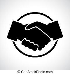circle., noir, handshake., icône, plat