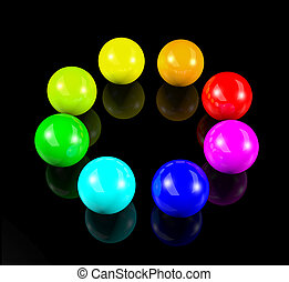 circle of 3d colorful balls