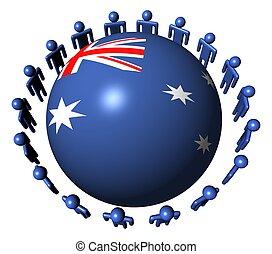 people around Australia flag sphere