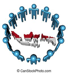 Circle of abstract people around Indonesia map flag illustration