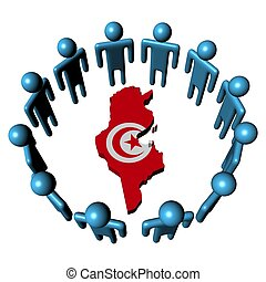 Circle of abstract people around Tunisia map flag...