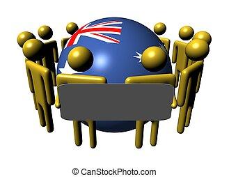 people with sign around Australia flag sphere