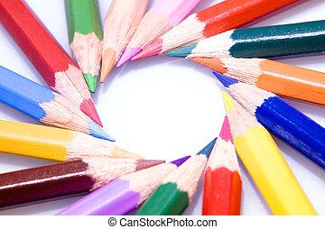 circle of bright color pencils