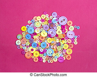 circle of brightly coloured different buttons