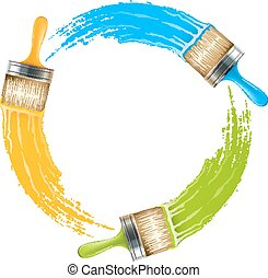 Circle of brushes with paint drawing colors