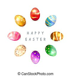 Circle of Colorful Easter Eggs